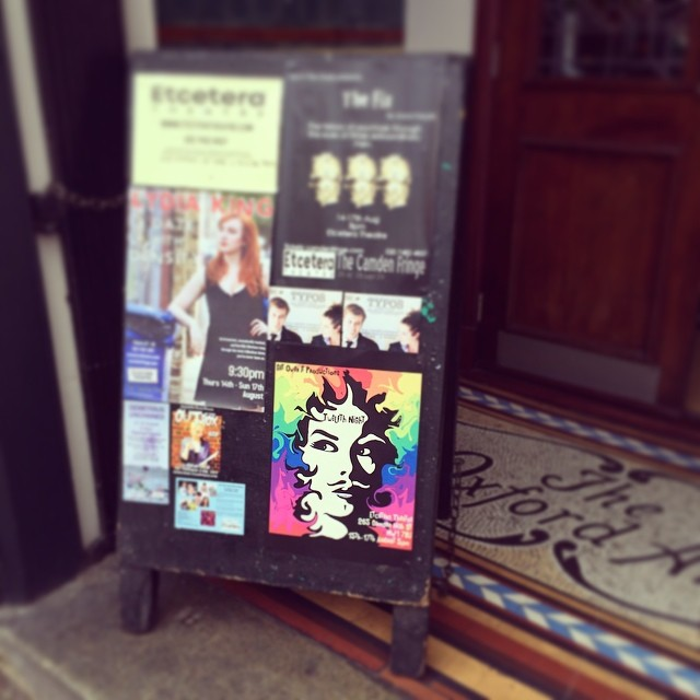 Twelfth Night Poster outside Etcetera Theatre